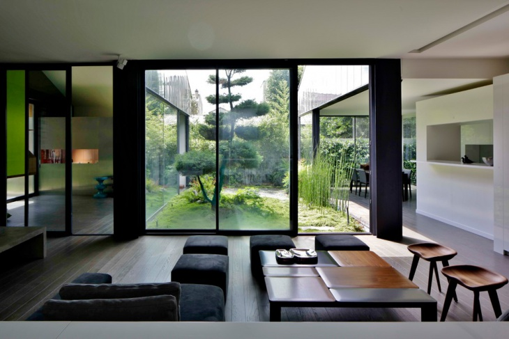 Black Zen Living Room Outer Backyard
