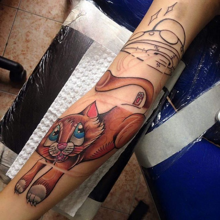lovely cat tattoo for women
