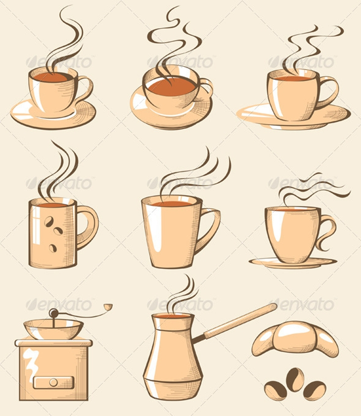 retro styled coffee icons