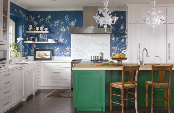 Unique Kitchen with Blue Decorative Wall