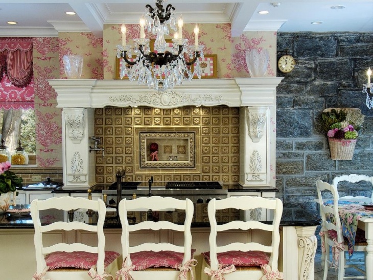 elegant kitchen with crystal chandelier