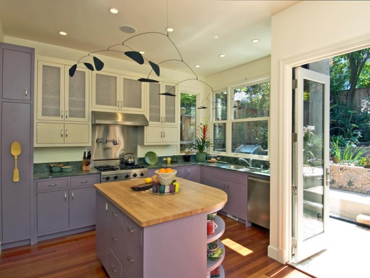 purple and white kitchen cabinets