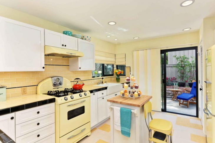 Retro Kitchen with Yellow Wall