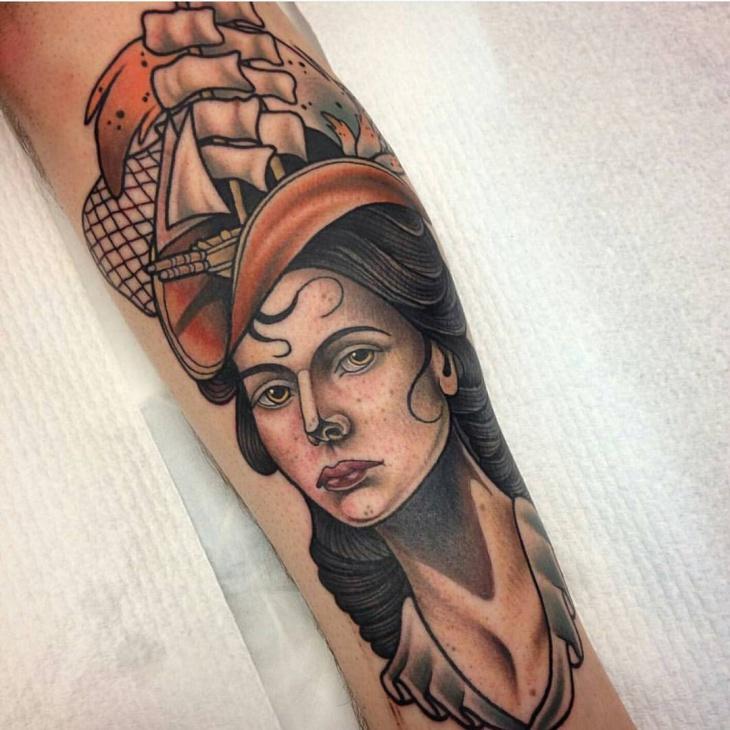 Ship Hand Tattoo Design