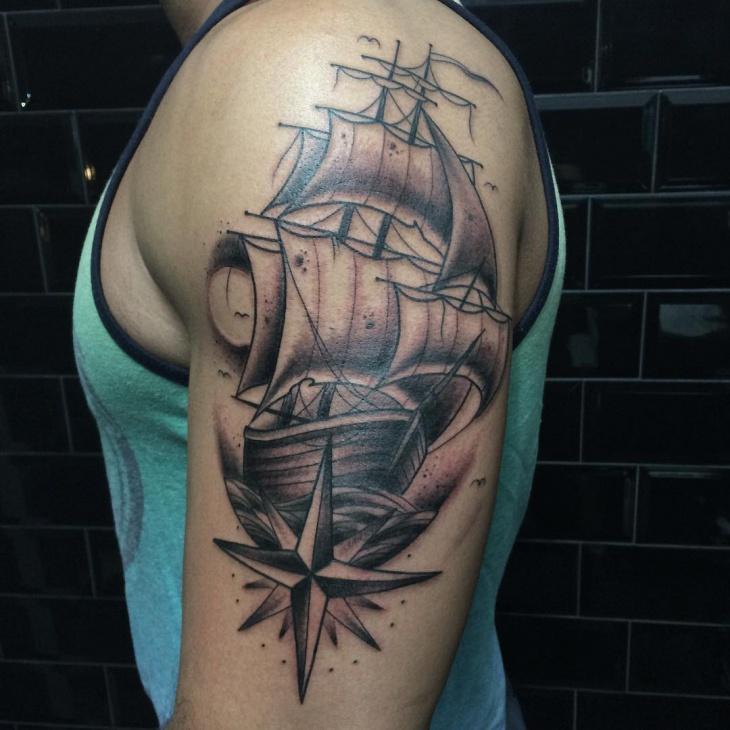 Black Ship Sleeve Tattoo