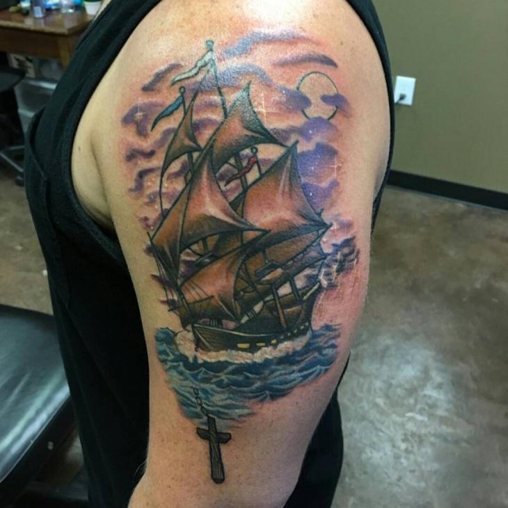 Colorful Flag Ship Tattoo