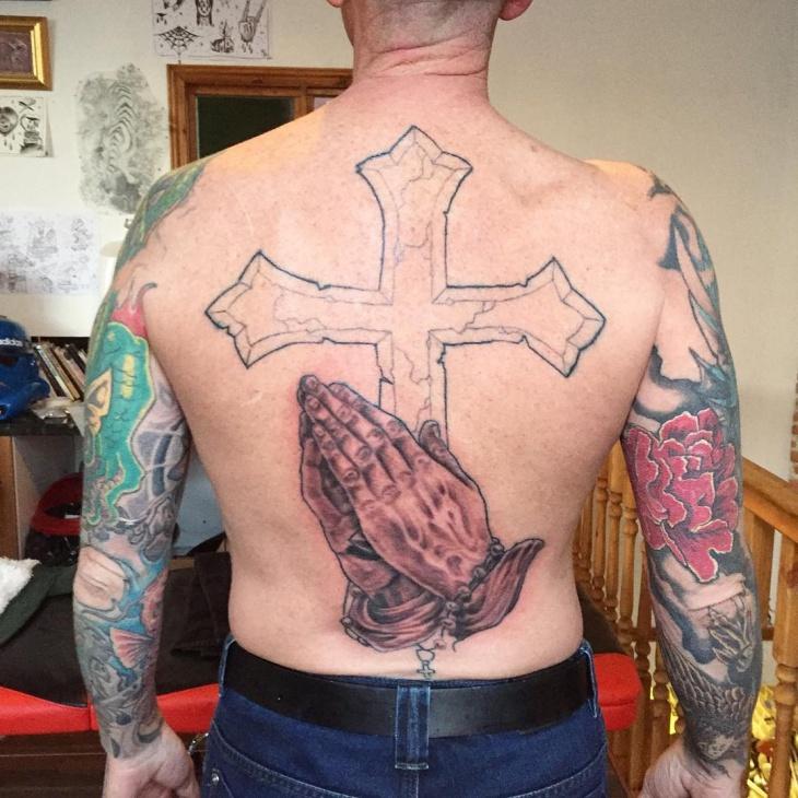 christian back tattoo design