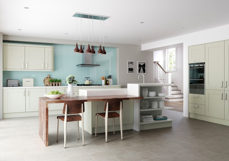 beautiful kitchen with blue wall