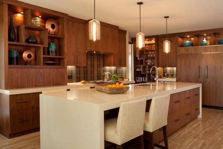 contemporaray kitchen with wooden cabinets