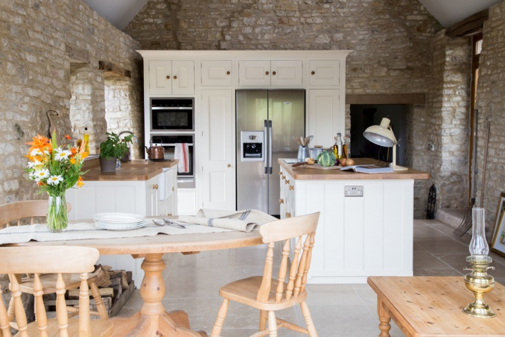 Farmhouse Kitchen with Stone Wall