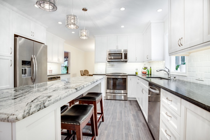 transitional marble countertop kitchen