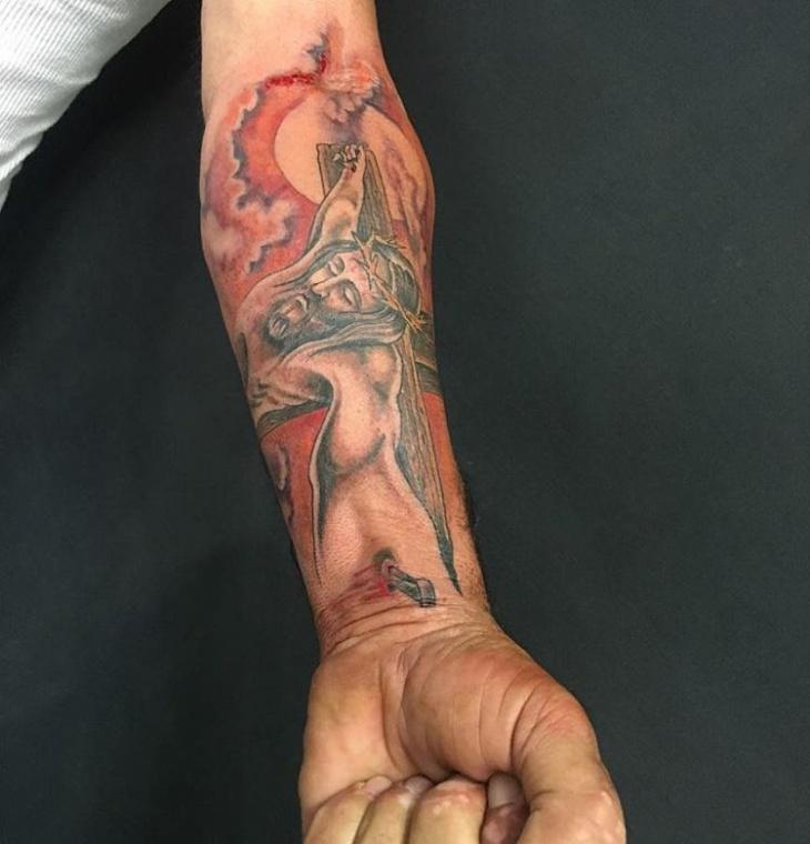 jesus christ hand tattoo