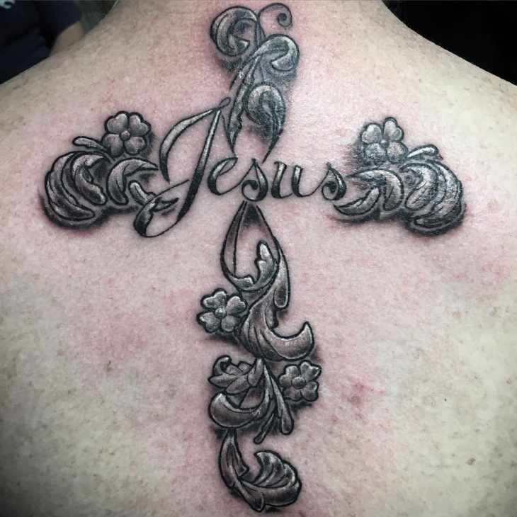 Jesus Quote with Floral Tattoo