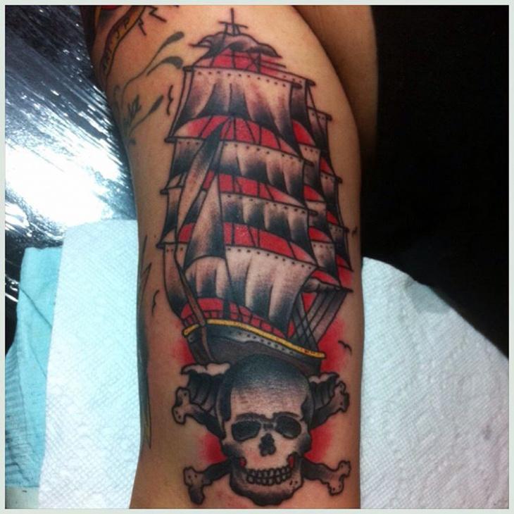 Modern Ship with Skull Tattoo