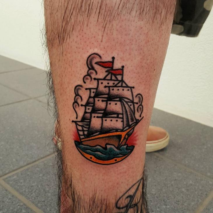 Small Ship Leg Tattoo