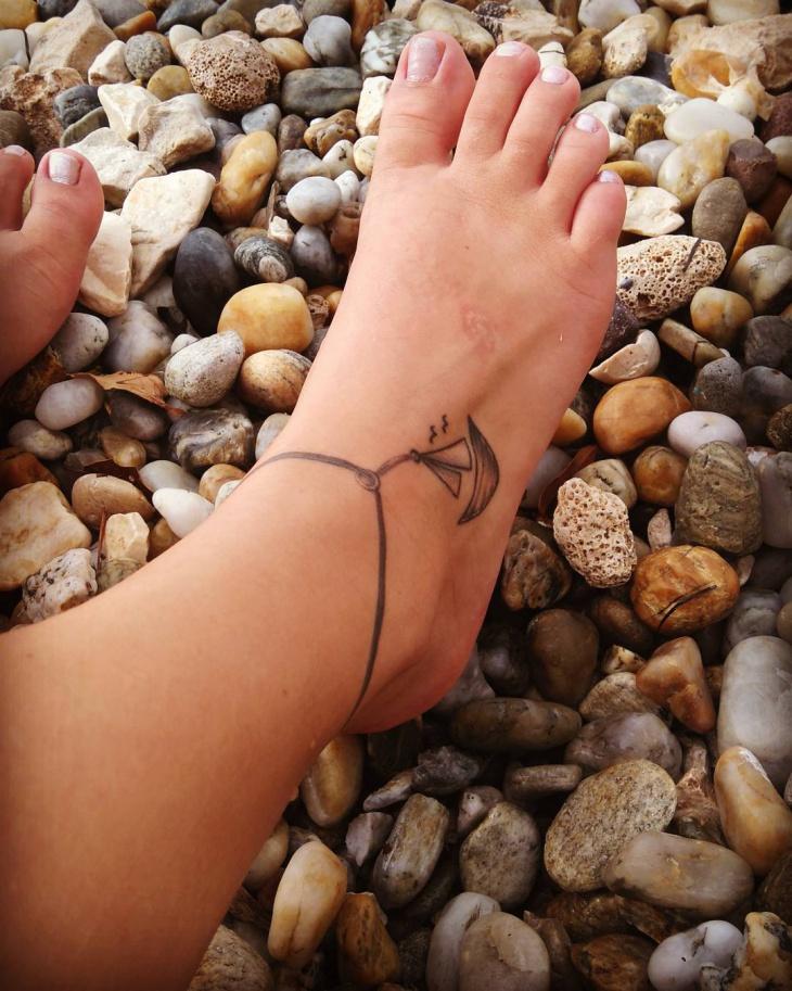 Ankle Ship Tattoo Design