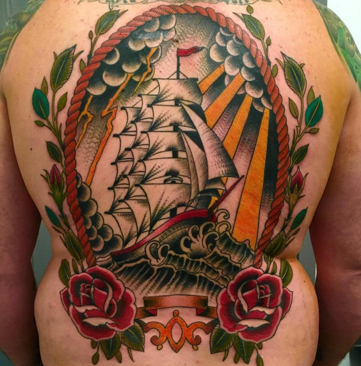 Traditional Ship Tattoo on Back