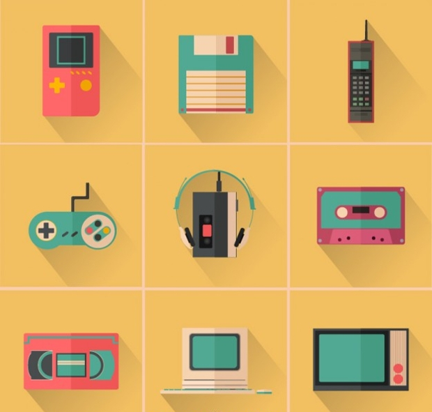 colorful retro device icons