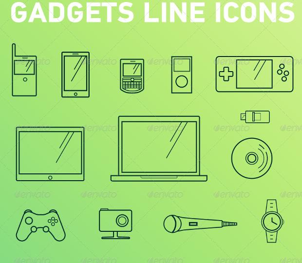 modern gadget line icons