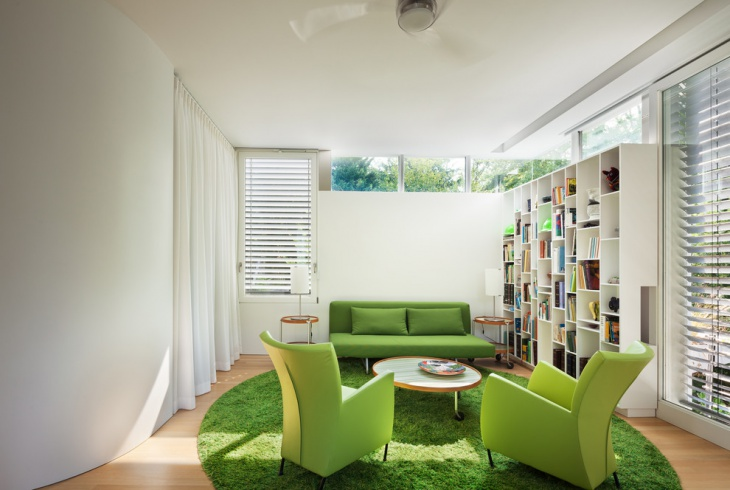 Modern Family Room with White Book Cases