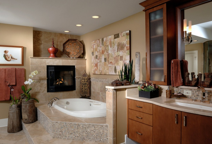 Traditional Bathroom With Fireplace
