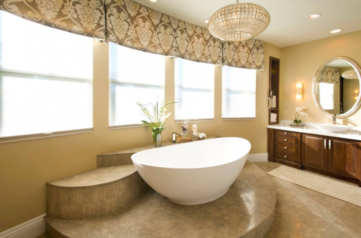 Unique Master Bathroom with Round Mirror