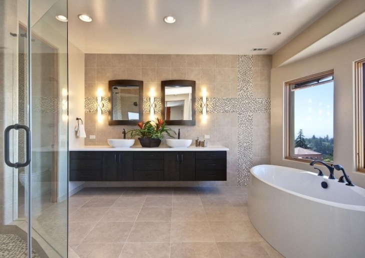 Contemporary Bathroom with Decorative Tiles