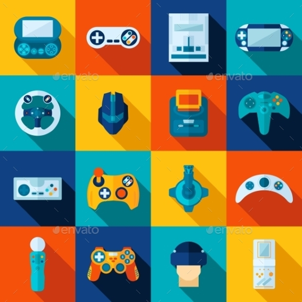 video game icon set