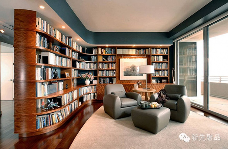 Trendy Living Room with Curved Book Shelves
