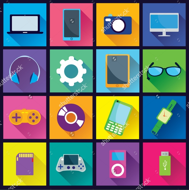 collection of gadget flat icon set