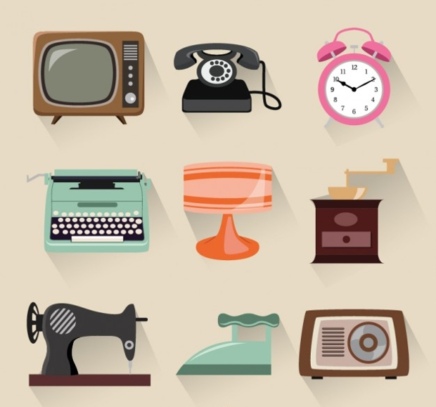 retro gadget collection free vector