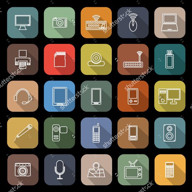 gadget line flat icons