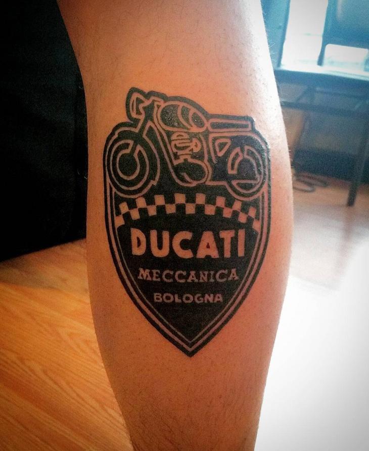 retro style bike tattoo