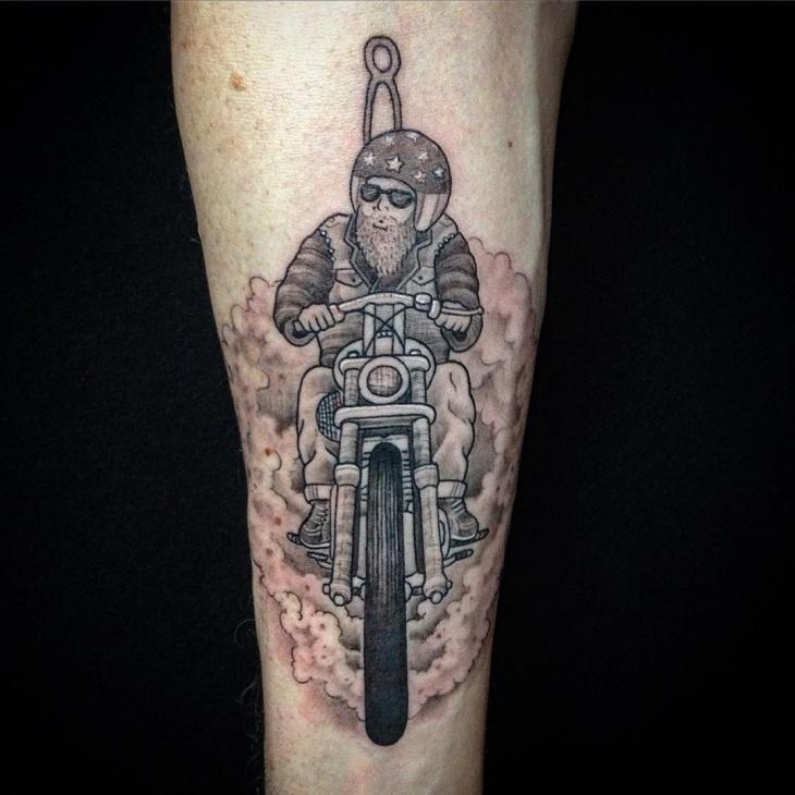 gorgeous biker tattoo idea