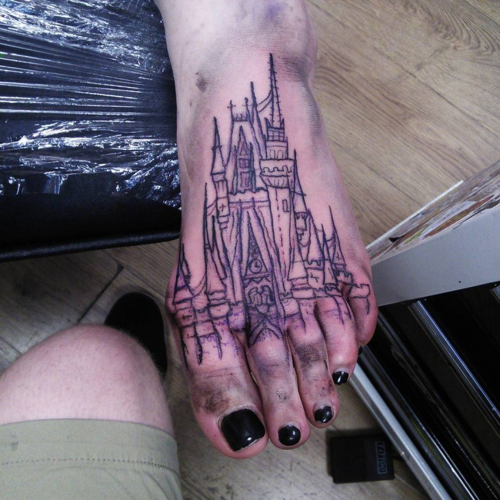 pretty line work tattoo on foot