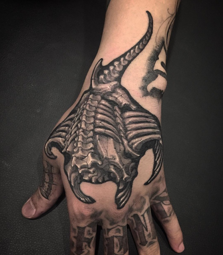 skeleton palm tattoo