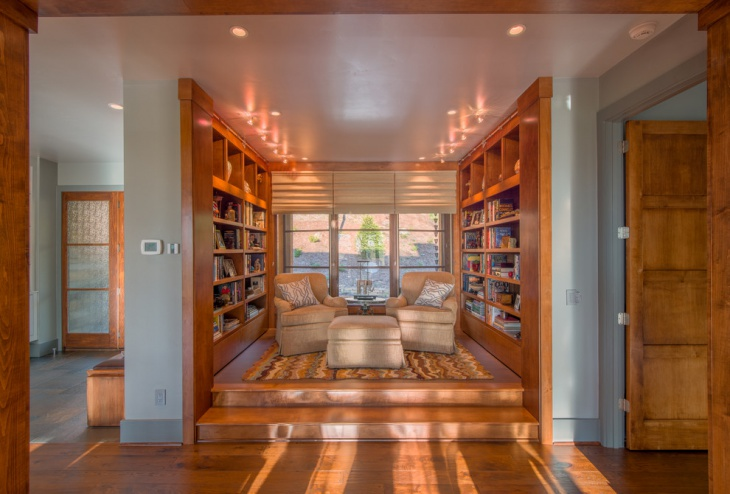 Library with hardwood floors
