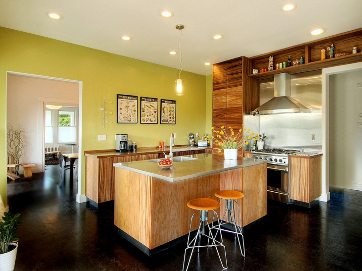 Green Color Kitchen with Ceiling