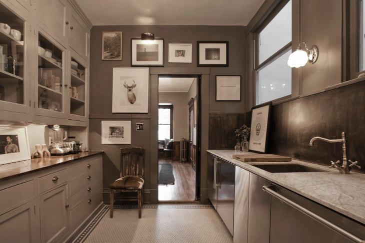Vintage Style Kitchen with Gray Cabinets