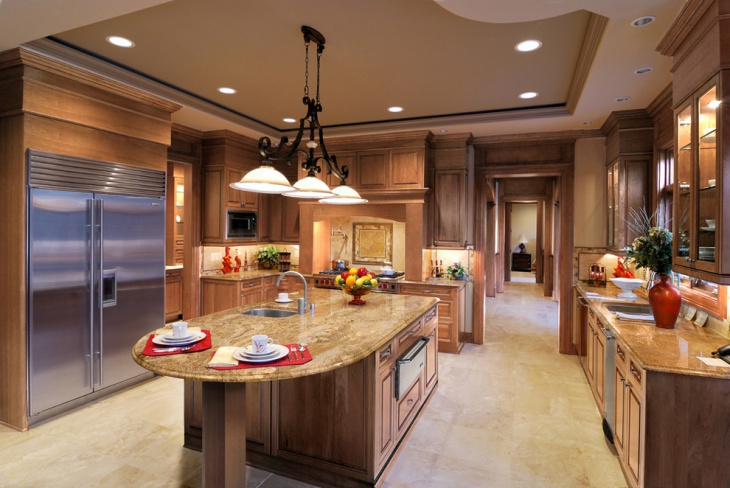 well furnished royal wooden kitchen cabinets with ceiling lights