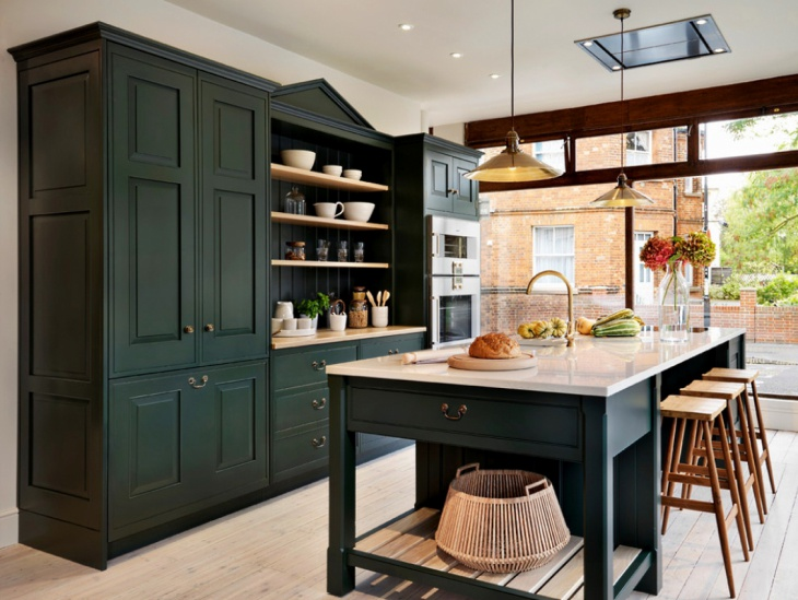 dark green wooden kitchen cabinets
