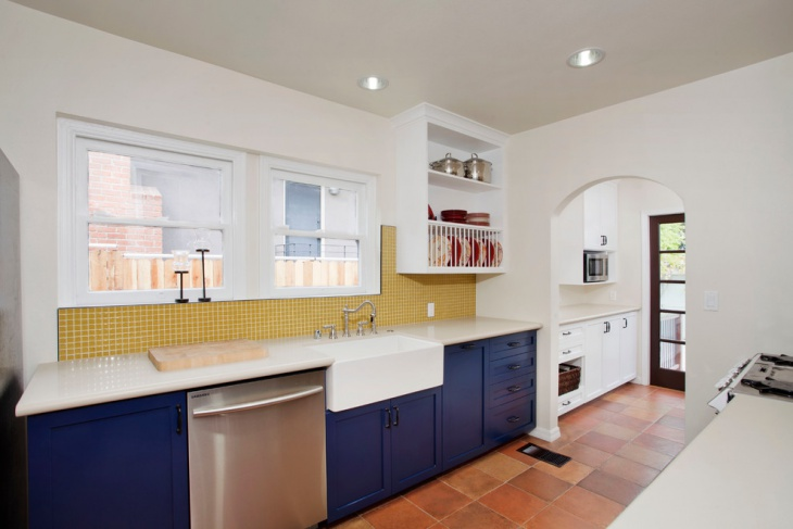 White and Blue Cabinets for Kitchen