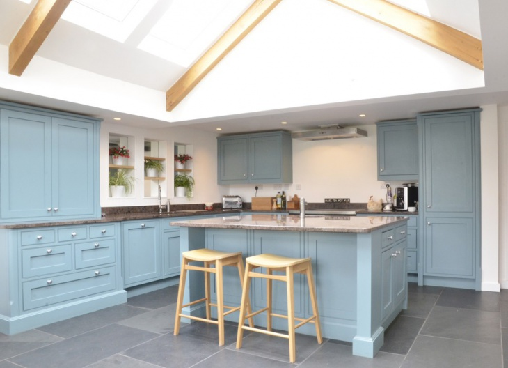 Traditional Kitchen with Blue Cabinets
