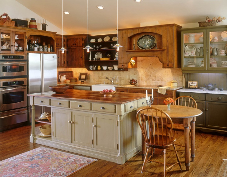 vintage look green kitchen cabinets