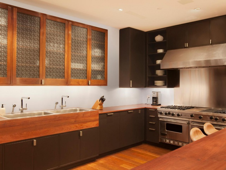 modern brown wooden storage kitchen cabinets