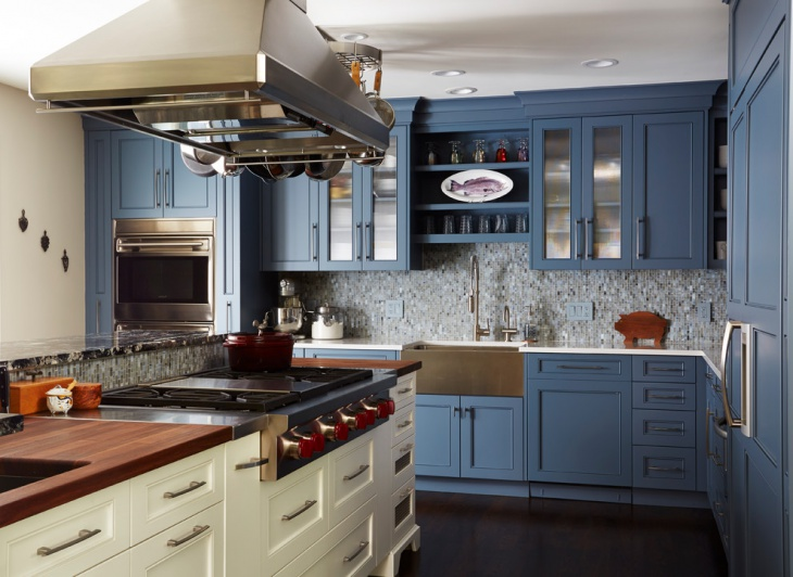 Blue Kitchen Cabinets Design Trends Premium Psd