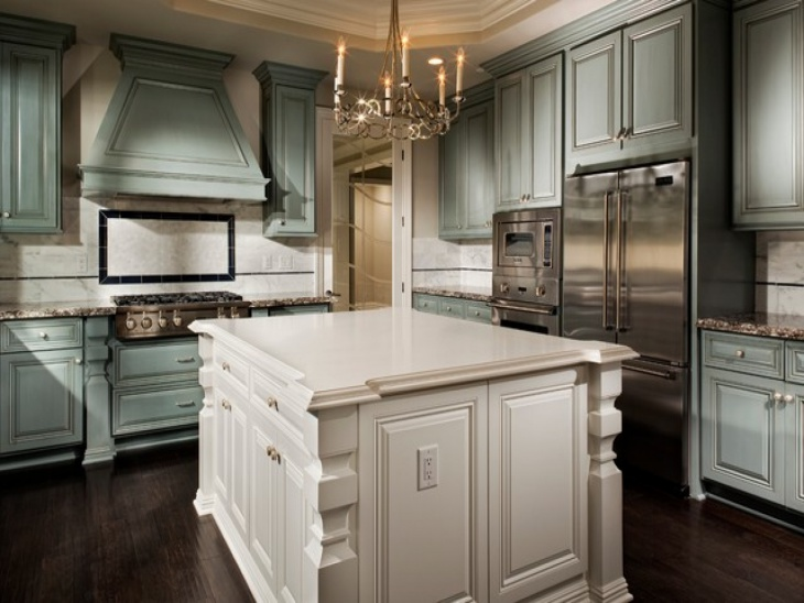 kitchen storage cabinets with candle chandiliers