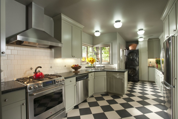 checkered floor midcentury green kitchen cabinets