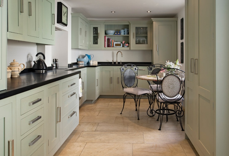 Lime Green Kitchen Cabinets with Dining Set