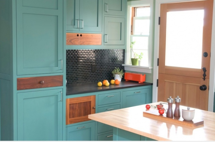 Green Wooden Kitchen Storage Cupboards